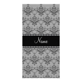 Personalized name Grey damask Photo Card
