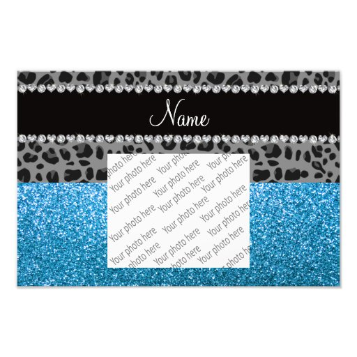 Personalized name grey leopard sky blue glitter photograph