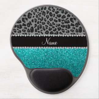 Personalized name grey leopard turquoise glitter gel mouse pad