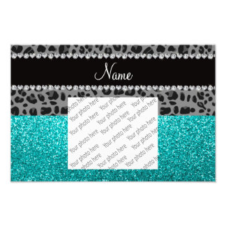 Personalized name grey leopard turquoise glitter photo print