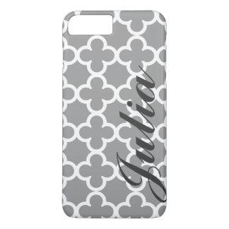 Personalized Name Grey Quatrefoil Pattern iPhone 8 Plus/7 Plus Case