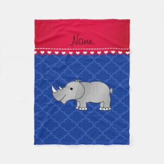 Personalized name grey rhino blue moroccan fleece blanket