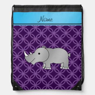 Personalized name grey rhino purple circles drawstring bag