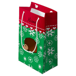 Personalized name hedgehog green snowflakes small gift bag
