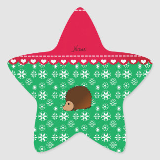 Personalized name hedgehog green snowflakes star sticker
