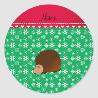Personalized name hedgehog green snowflakes round stickers
