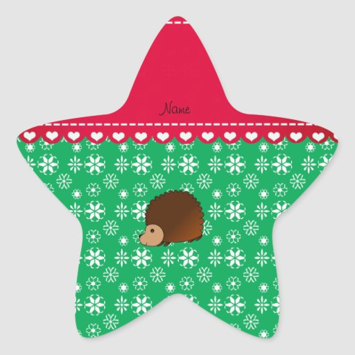 Personalized name hedgehog green snowflakes star stickers