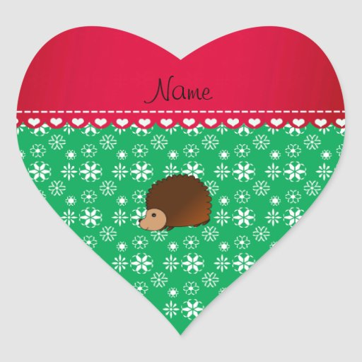 Personalized name hedgehog green snowflakes stickers