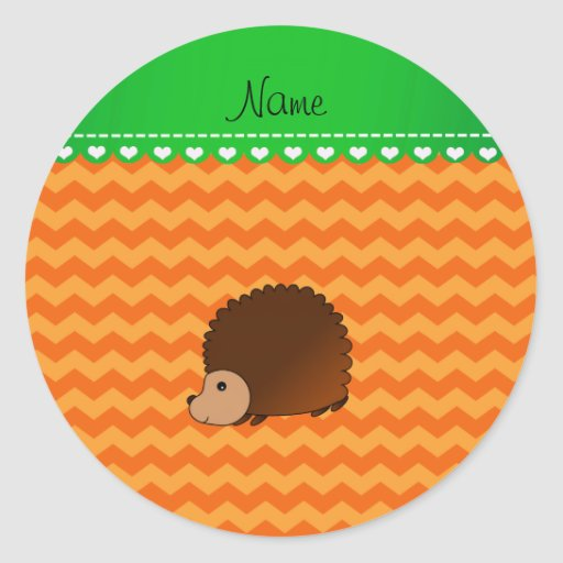 Personalized name hedgehog orange chevrons stickers