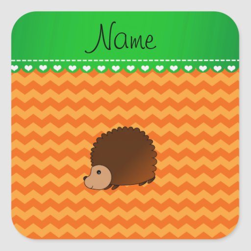 Personalized name hedgehog orange chevrons stickers