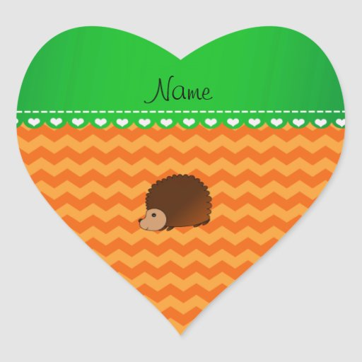 Personalized name hedgehog orange chevrons sticker