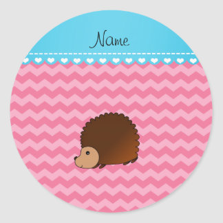 Personalized name hedgehog pink chevrons round sticker