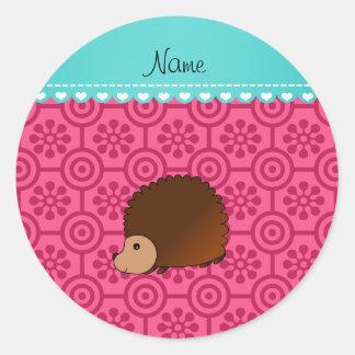Personalized name hedgehog pink retro flowers round sticker