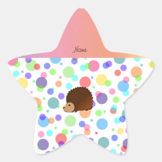 Personalized name hedgehog rainbow polkadots star stickers