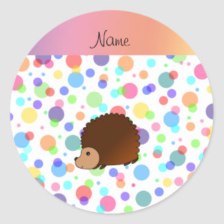 Personalized name hedgehog rainbow polkadots round sticker