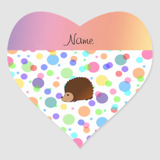Personalized name hedgehog rainbow polkadots heart sticker