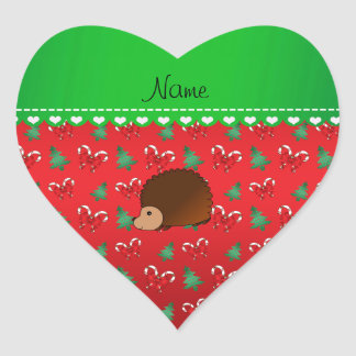 Personalized name hedgehog red candy canes bows heart sticker