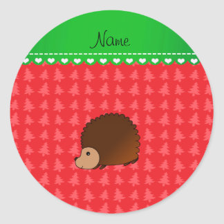 Personalized name hedgehog red Christmas trees Round Stickers