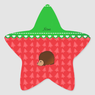 Personalized name hedgehog red Christmas trees Star Stickers