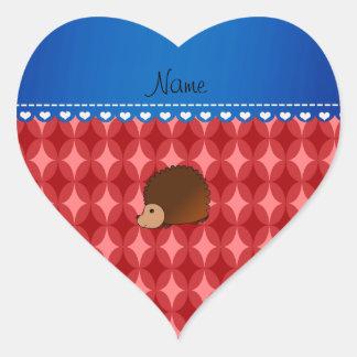 Personalized name hedgehog red retro circles heart sticker