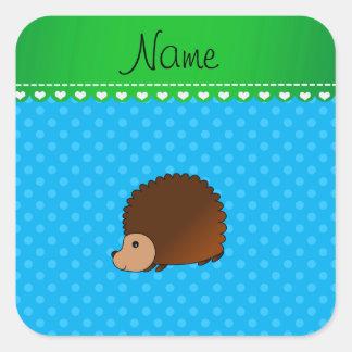 Personalized name hedgehog sky blue polka dots square sticker