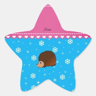Personalized name hedgehog sky blue snowflakes star sticker