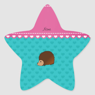 Personalized name hedgehog turquoise hearts sticker