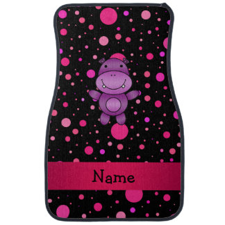 Personalized name hippo black pink polka dots floor mat