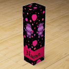 Personalized name hippo black pink polka dots wine box