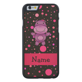 Personalized name hippo black pink polka dots carved® maple iPhone 6 slim case