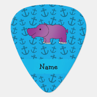Personalized name hippo blue anchors pattern pick
