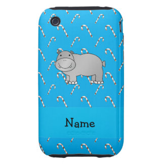 Personalized name hippo blue candy canes tough iPhone 3 cases