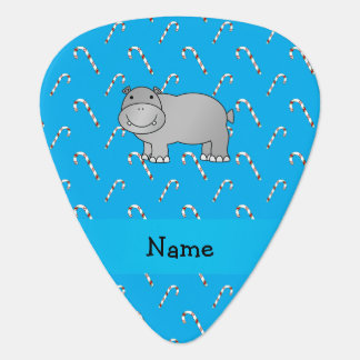 Personalized name hippo blue candy canes guitar pick