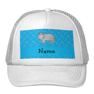 Personalized name hippo blue candy canes mesh hat