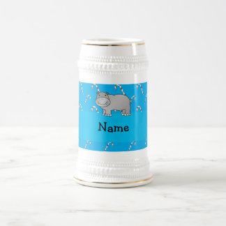 Personalized name hippo blue candy canes coffee mug