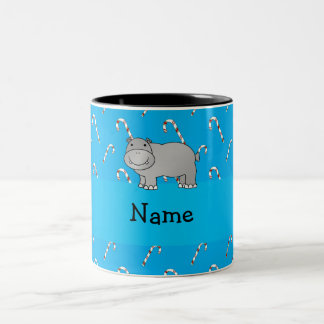 Personalized name hippo blue candy canes mugs
