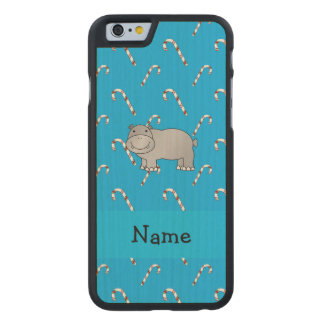 Personalized name hippo blue candy canes carved® maple iPhone 6 slim case