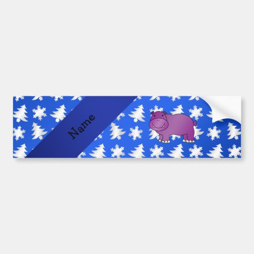 Personalized name hippo blue snowflakes trees bumper sticker