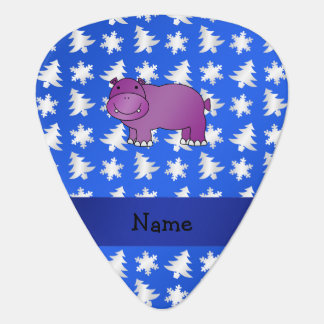 Personalized name hippo blue snowflakes trees guitar pick