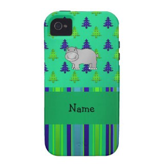 Personalized name hippo green blue stripes iPhone 4 cover