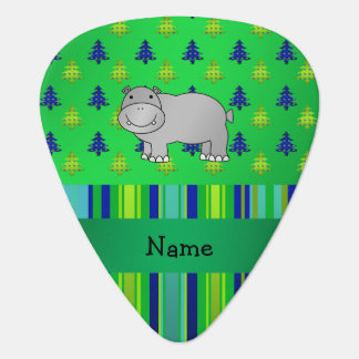 Personalized name hippo green blue stripes guitar pick