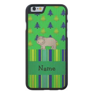 Personalized name hippo green blue stripes carved® maple iPhone 6 slim case