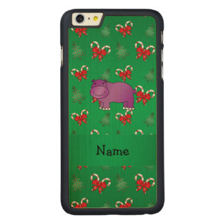Personalized name hippo green candy canes bows carved® maple iPhone 6 plus slim case