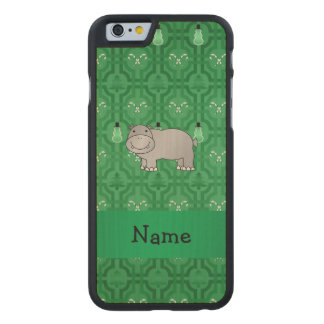 Personalized name hippo green snowmen carved® maple iPhone 6 case