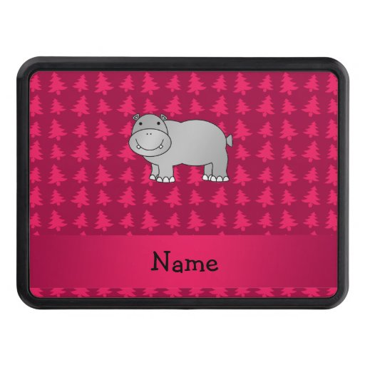 Personalized name hippo pink christmas trees tow hitch cover