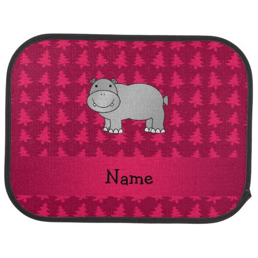 Personalized name hippo pink christmas trees car mat