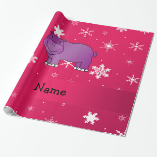Personalized name hippo pink snowflakes