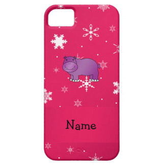 Personalized name hippo pink snowflakes iPhone 5 cases