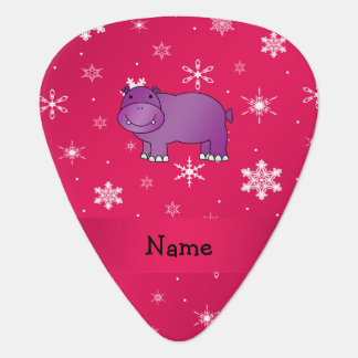 Personalized name hippo pink snowflakes pick