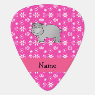 Personalized name hippo pink snowflakes guitar pick